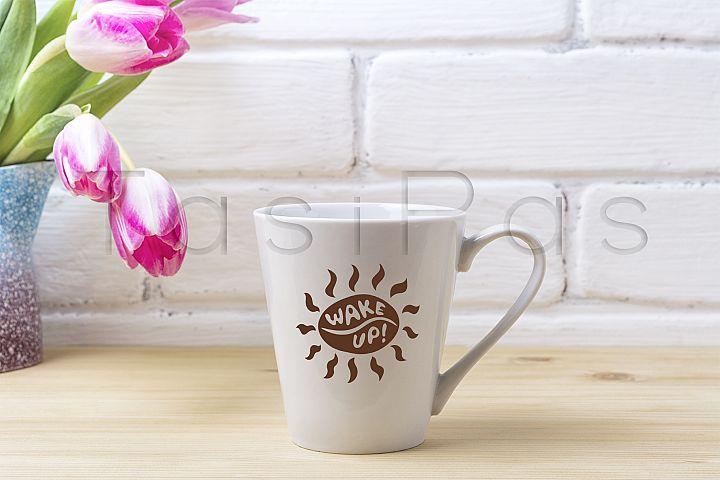 White latte mug mockup with magenta tulip