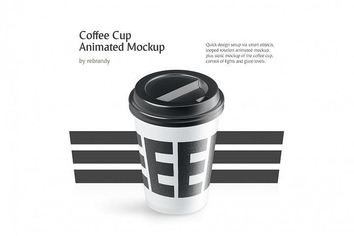 Coffee Cup Animated Mockup (cofe cup mock up, coffe cup mock-up, coffe mug mockup)