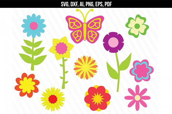 Flowers butterfly floral svg