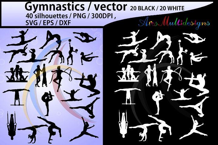 Gymnastics silhouette svg / Gymnastics clipart / silhouette / Gymnastics printable vector file : black and white / SVG / Png / EPS / DXf