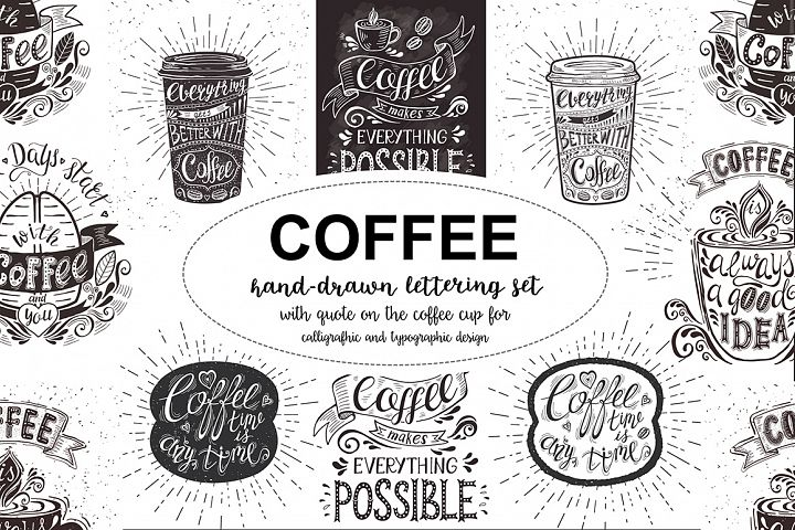 Set of Banners with coffee quotes.