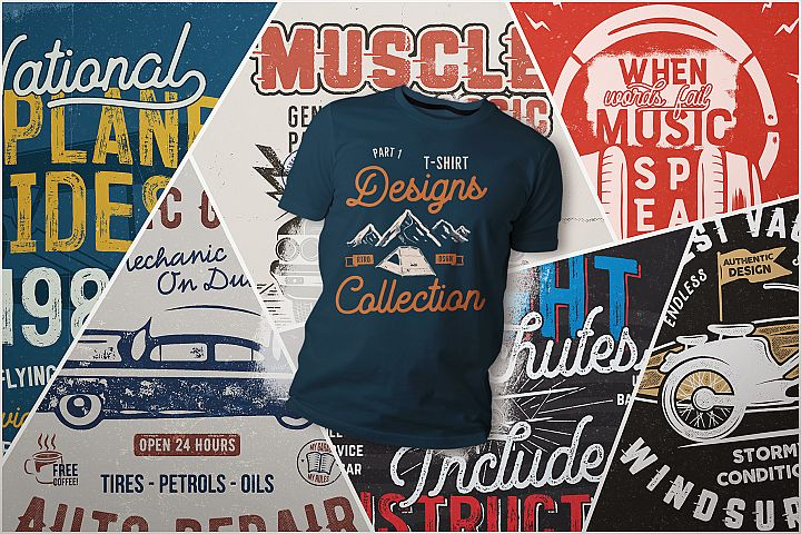 T-Shirt Designs Collection. Part 1 / SVG Set / Vector Tee Graphics