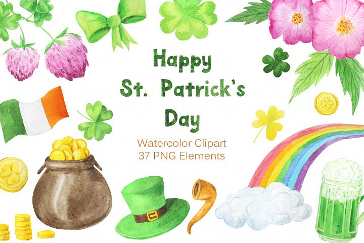 Watercolor St Patricks Day Collection