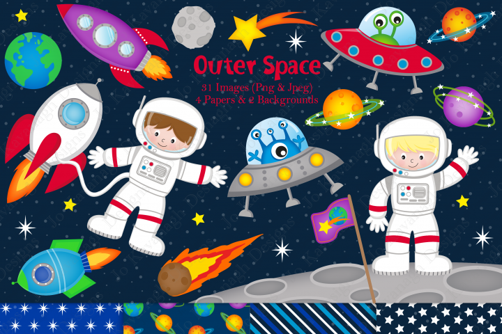 Space clipart, Space graphics & illustrations, Astronaut clipart, Astronaut graphics & illustrations, Aliens, Planets clipart
