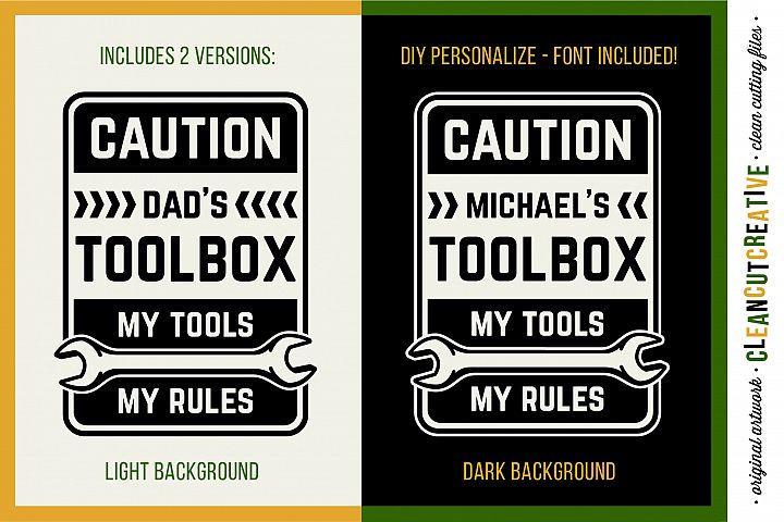 DIY Personalized Mens Toolbox decal design - My Tools My Rules!- SVG DXF EPS PNG - Cricut & Silhouette - clean cutting files