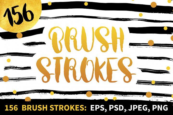 156 Brush Strokes, Watercolor Lines