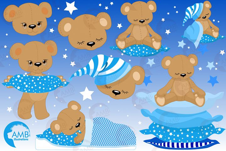 Teddy bear, nursery, baby boy, baby blue bear, clipart, graphics, llustrations AMB-982