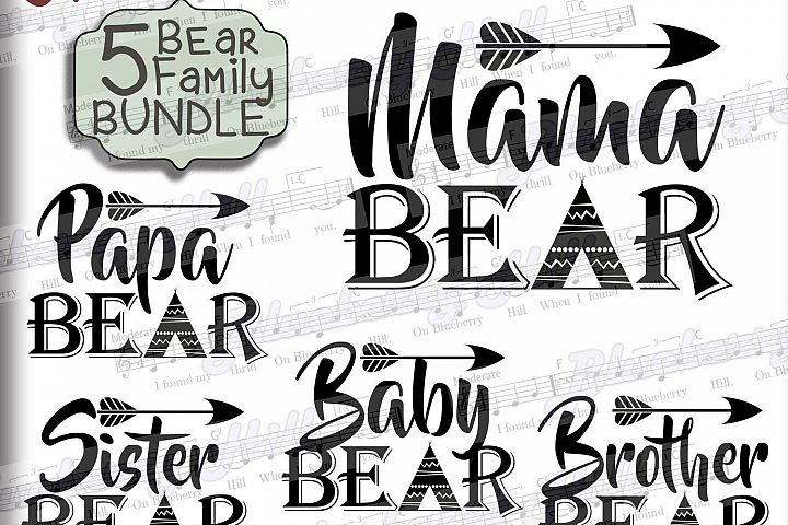 Bear family Bundle SVG - Bundle svg digital - Mama Bear Papa Bear - Bear clipart - SVG file - DIY- Svg - Dxf- Eps - Png -Jpg - Pdf