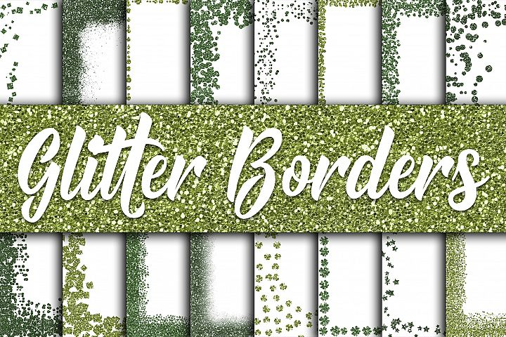 St Patricks Day Glitter Borders Digital Paper