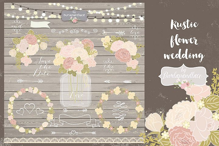 Peach rustic flower clip arts