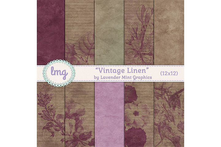 Vintage Linen Digital Papers