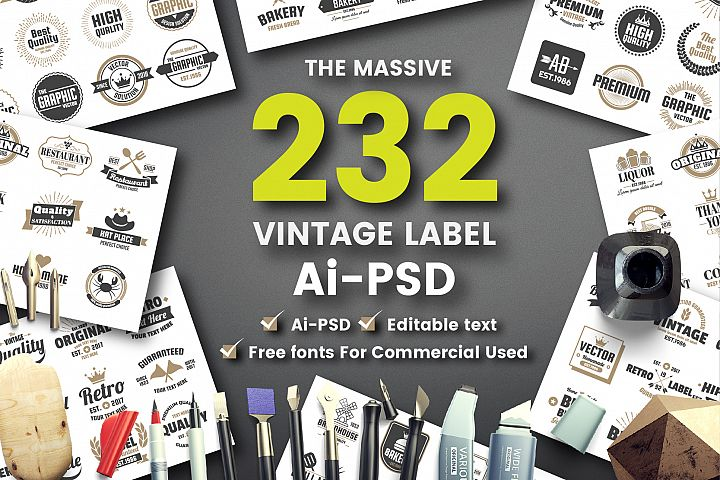 232 VINTAGE BADGE & RIBBON