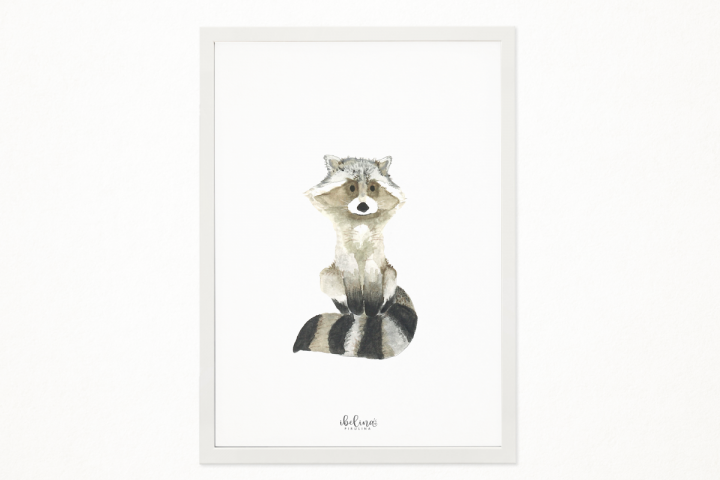 Handmade Little Racoon art printable in A4 to decor an special place. Babys room, kids room. Illustration, printing. Ready to print