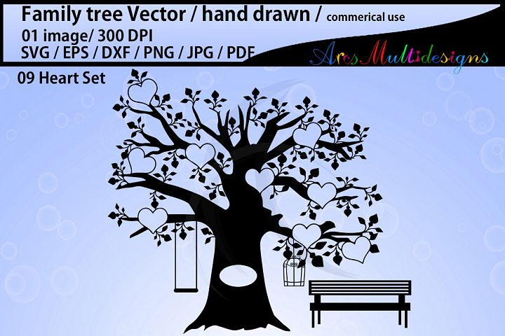 family tree clipart SVG, EPS, Dxf, Png, Pdf, Jpg / family tree silhouette / hand drawn family tree svg / vector / Commerical use / 09 heart set