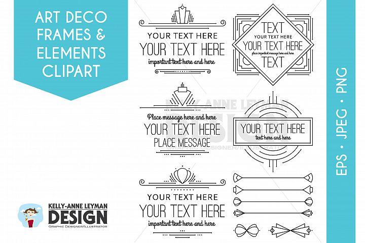 Art Deco Digital Frames Clipart, Digital Labels Clip Art