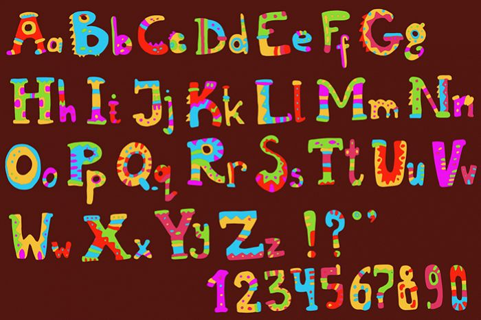 Ethnic brush painted vector alphabet