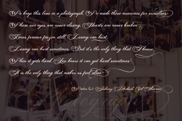Photograph - Script Wedding Font - Free Font of The Week Design 4