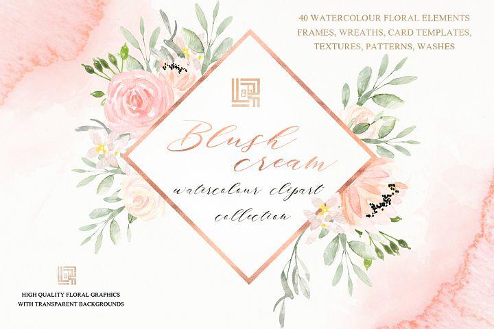 Blush cream. Floral watercolor clip art.