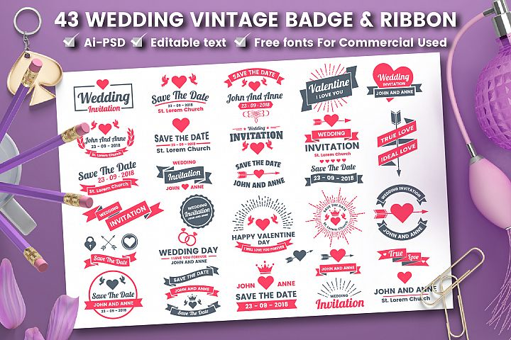 43 WEDDING VINTAGE BADGE & RIBBON