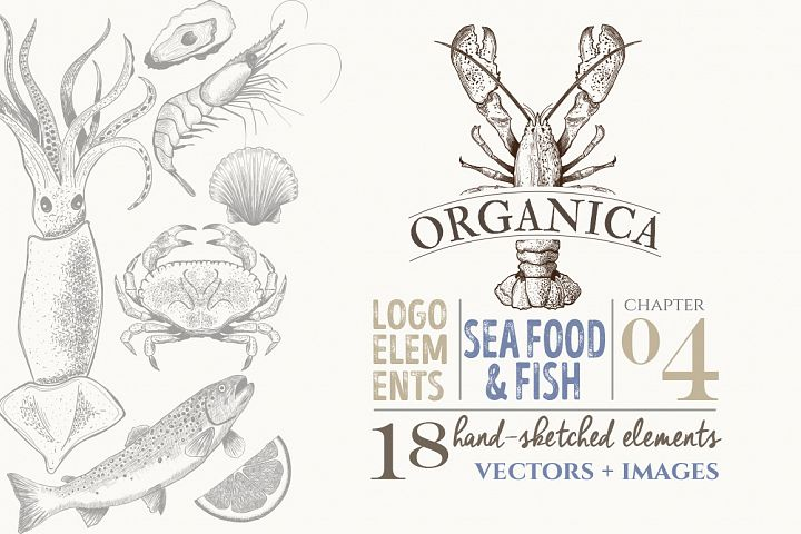 ORGANIC LOGO ELEMENTS SEA FOOD & FISH