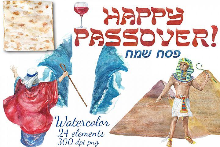 Watercolor Happy Passover digital clip art