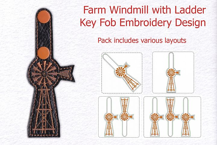 Farm Windmill with Ladder Key Fob Machine Embroidery Design