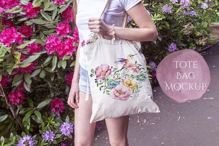 Tote Bage Mockup - Woman walking in garden