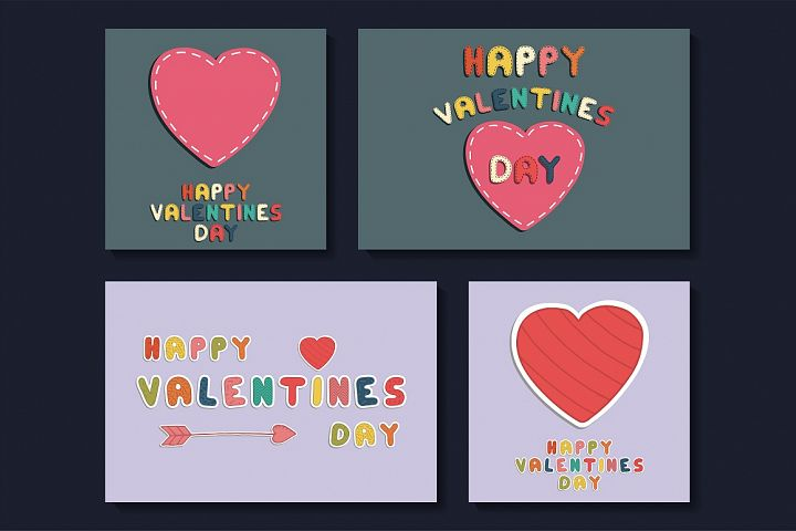 Collection of Valentines cards - cute doodle design