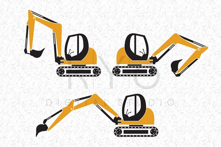 Digger Construction Transport SVG EPS PNG Vector images Transportation Tractor monogram frame cut files for Cricut Silhouette