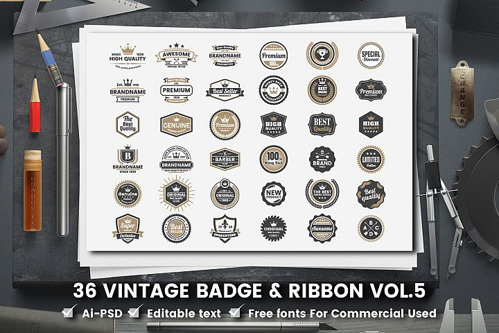36 VINTAGE BADGE & RIBBON Vol.5
