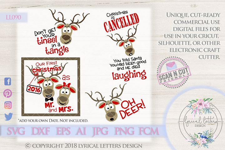 Oh Deer Bundle of 4 Christmas SVG Cut Files LL090