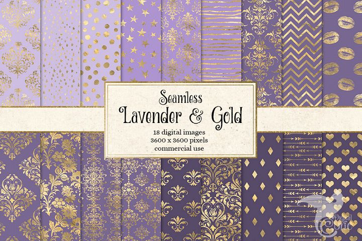 Lavender and Gold Digital Paper