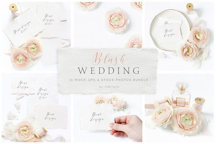 Blush Wedding mockups  & stock photo bundle