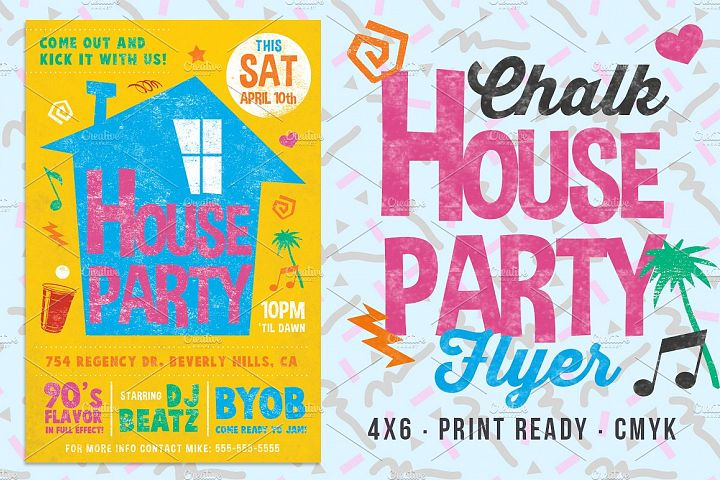 Chalk House Party 90s Retro Flyer Club College