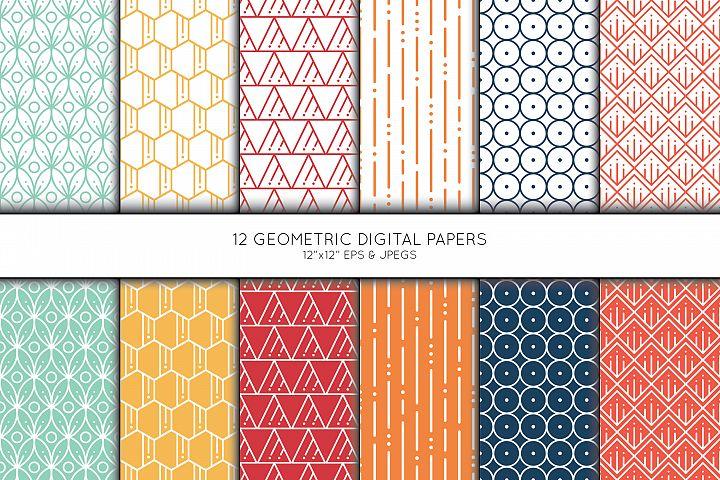 Geometric Digital Paper, Seamless pattern, Scrapbook paper