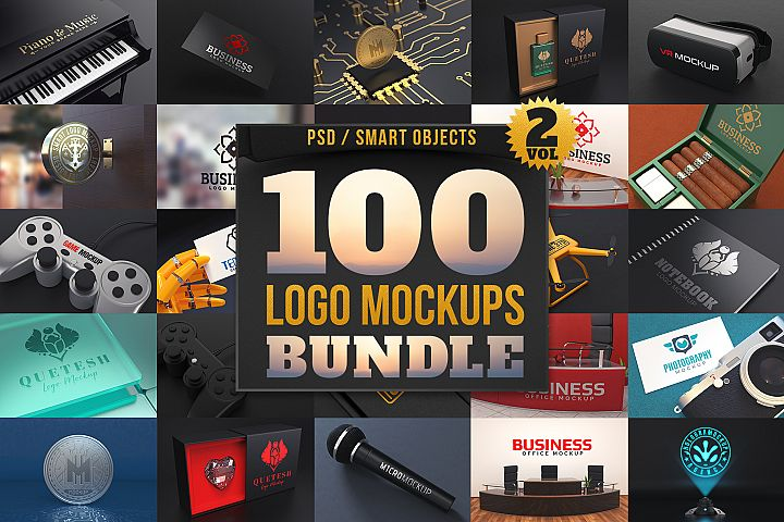 100 Logo Mockups Bundle Vol.2