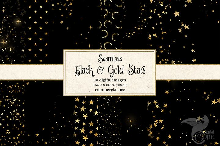 Black and Gold Stars Digital Paper