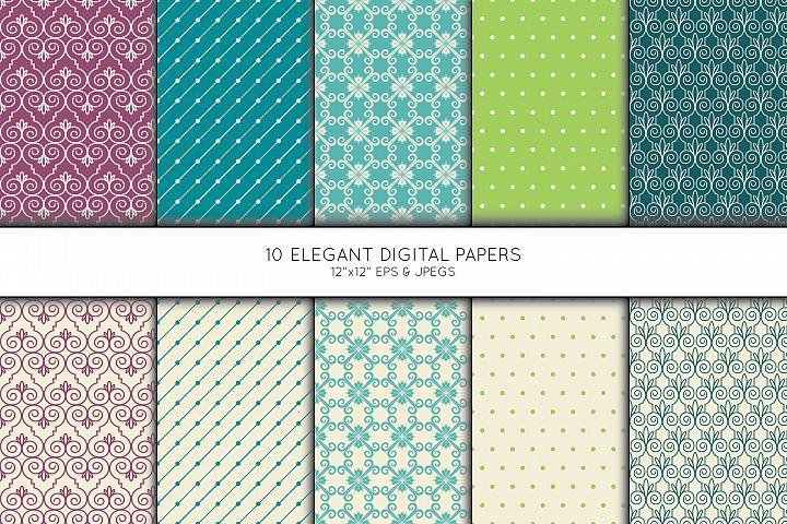 Elegant Swirl Digital Paper, Geometric Seamless pattern