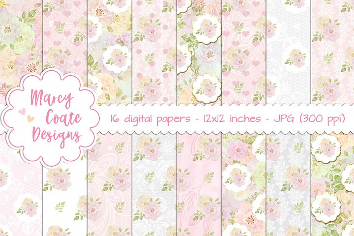 Watercolor Roses Shabby Chic Digital Papers set of 16 pattern papers