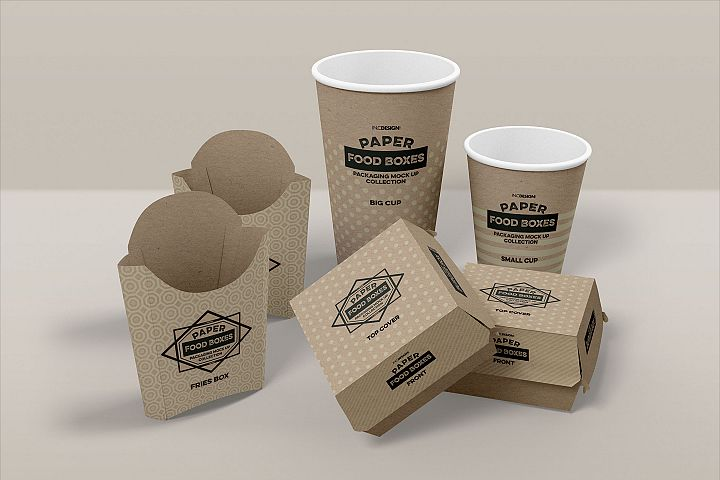 Fast Food Branding and Packaging Free Mockup Template example 1