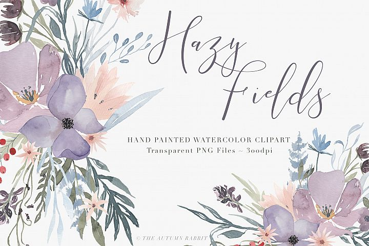 Watercolor Floral Clipart - Hazy Fields - Free Design of The Week