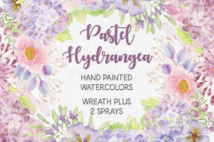 Watercolor wreath of pastel Hydrangeas