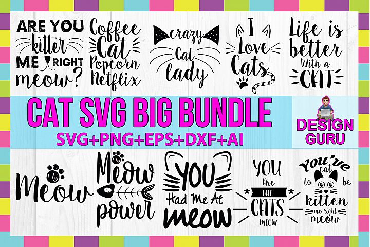 Cat SVG/PNG/DXF/EPS/Ai Big Bundle
