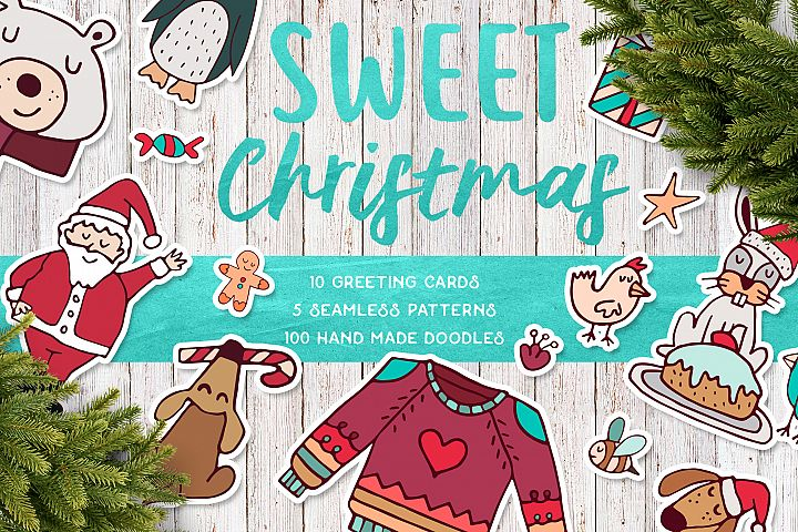 Sweet Christmas: hand drawn set with cute animals