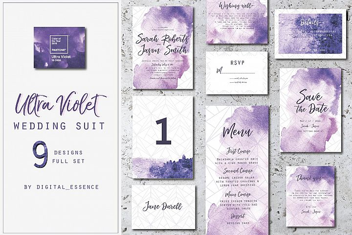 Ultra violet wedding invitation suit
