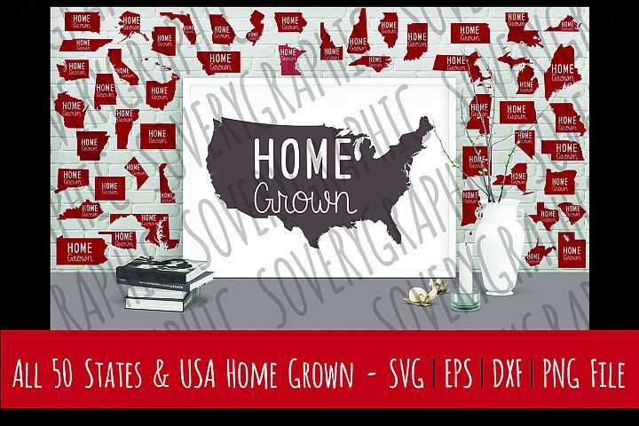 Home Grown USA Map + 50 States + DC | Cutting Files | Printable | SVG | EPS | DXF | PNG | Roots | Family | American Pride | United States | USA