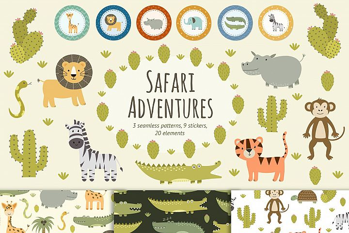 Safari adventures: patterns & stickers