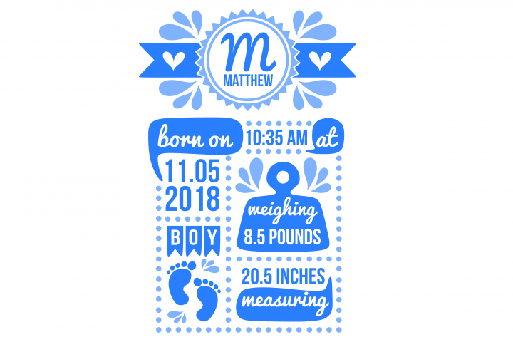 Birth stats svg, birth stats template, birth announcement svg, baby stats svg, newborn svg, welcome baby svg, cricut, silhouette
