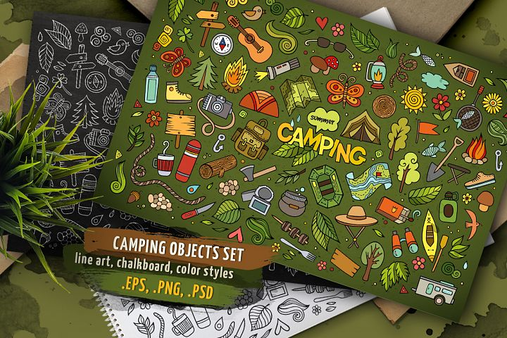 Camping Objects & Elements Set
