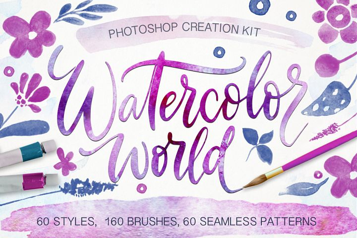 Watercolor world. Photoshop kit.